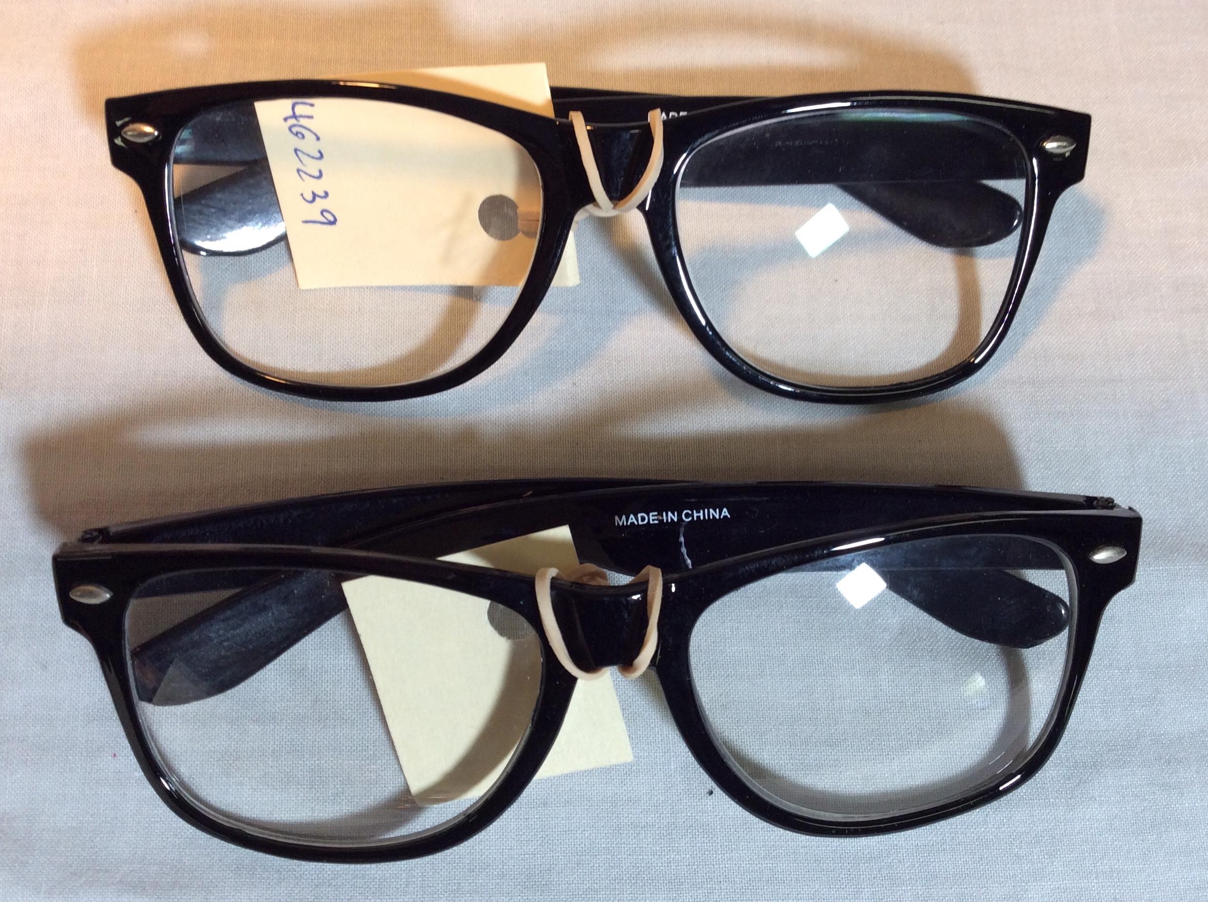 Black wayfarer style glasses