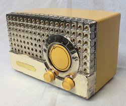 Retro yellow radio with metallic front. 1950's/60's
