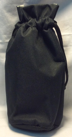 Black fabric insulated bottle cosy