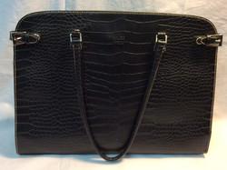 Hermes Black leather fuax snakeskin