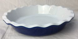 White and blue pie baking dish