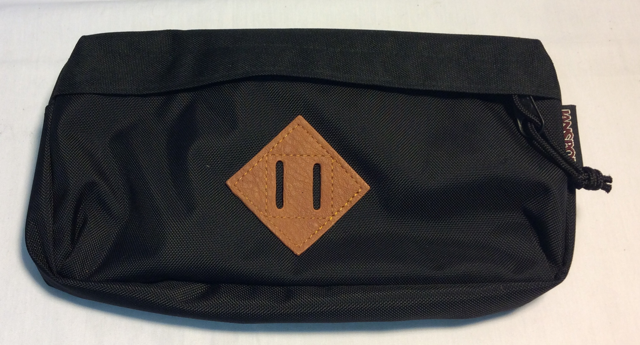 Black jansport fanny pack with brown