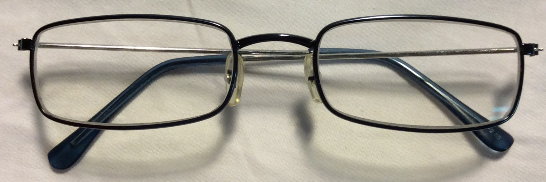 Thin silver metal frames, light blue