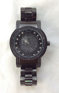 Super Techno. Beefy black watch with metal band and bedazzled interface