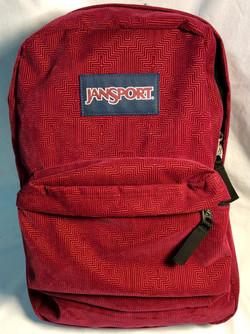 Jansport Maroon faux-velvet patterned backpack