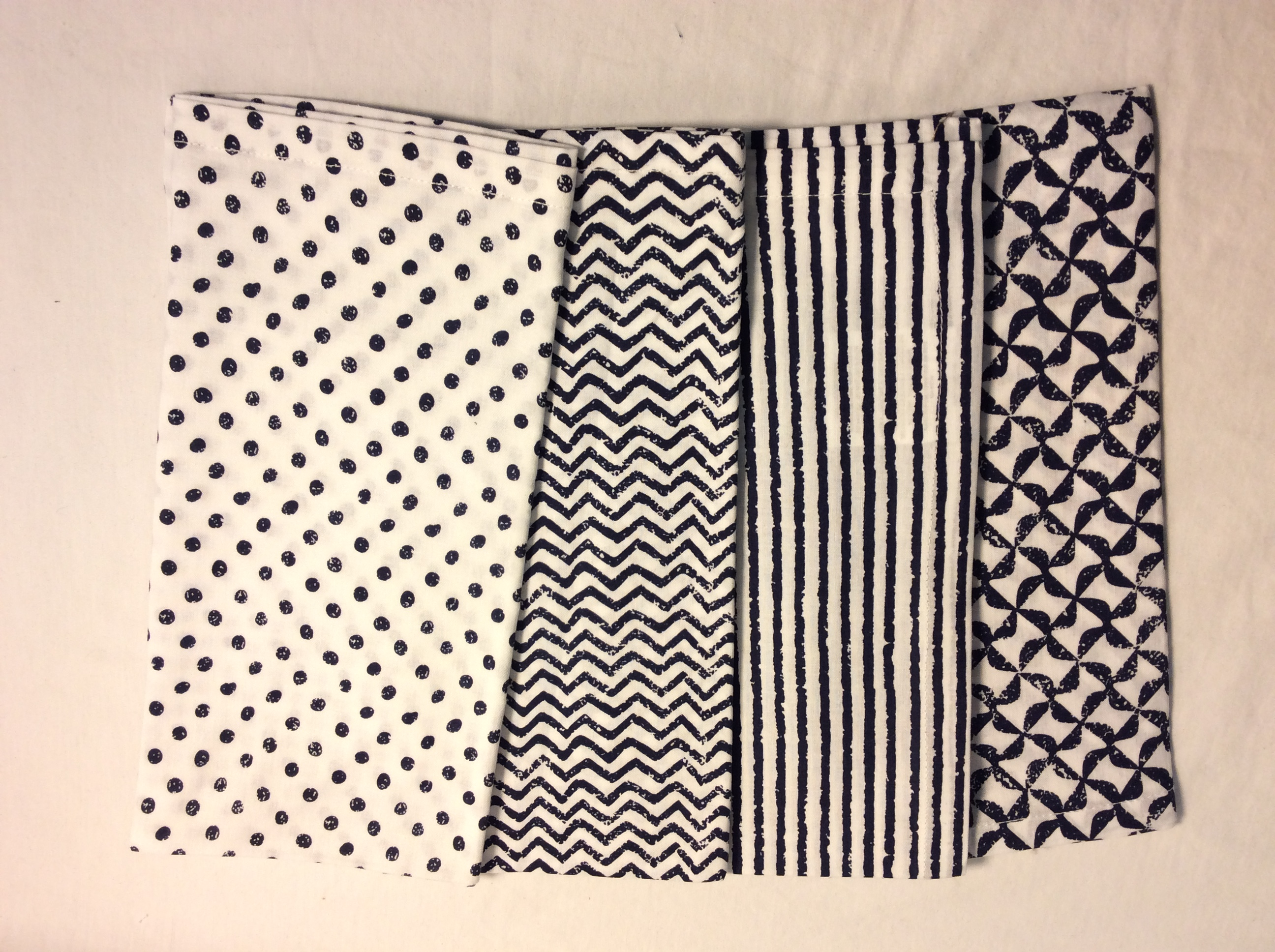 "Blue and white patterned cloth napkins - 20""x20"" 4 styles - x5 each style"