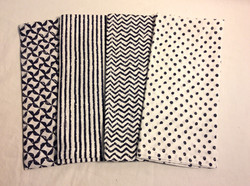 """Blue and white patterned cloth napkins - 20""""x20"""" 4 styles - x5 each style"""