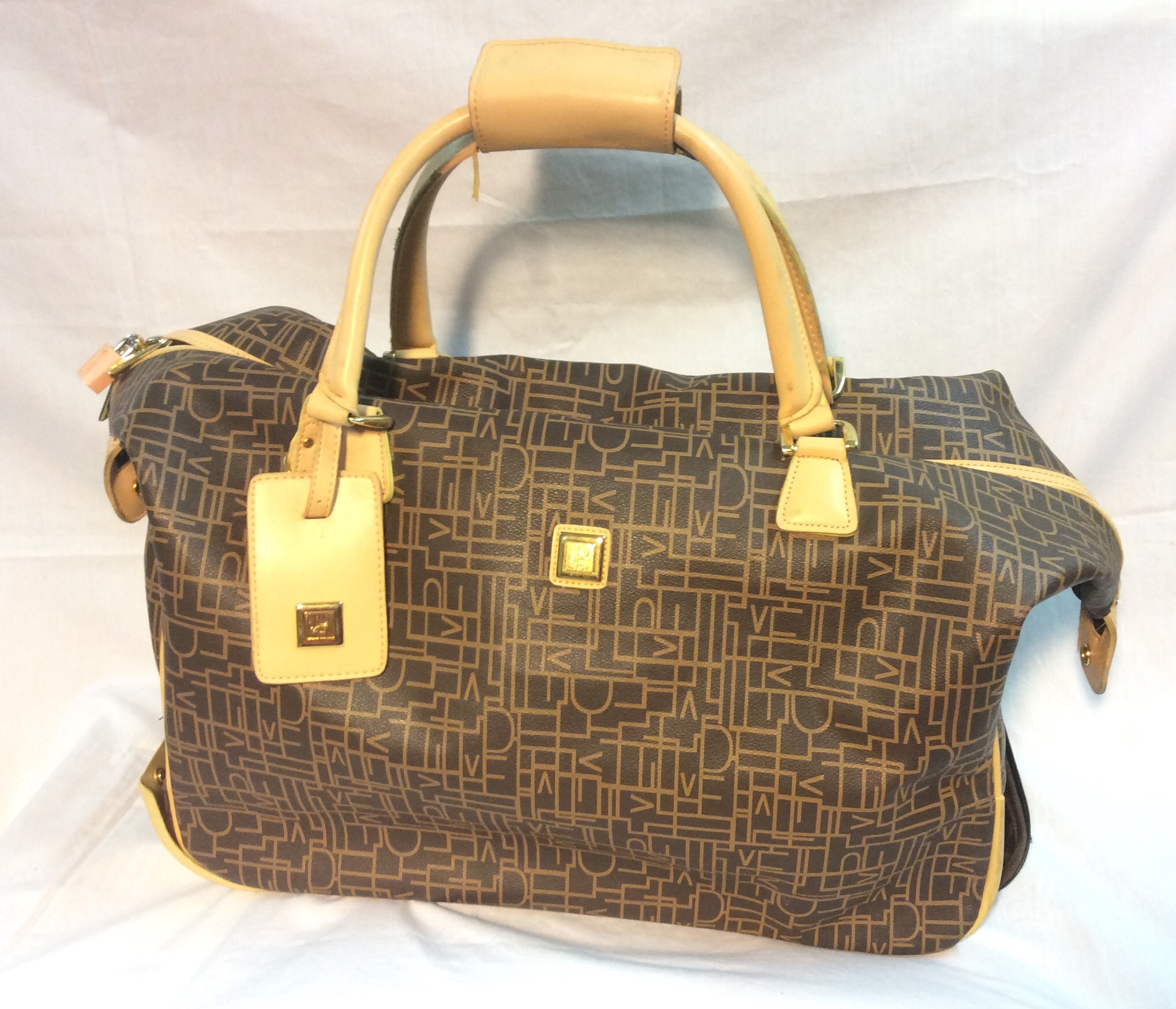 Beige and Brown Patterned Travel Bag