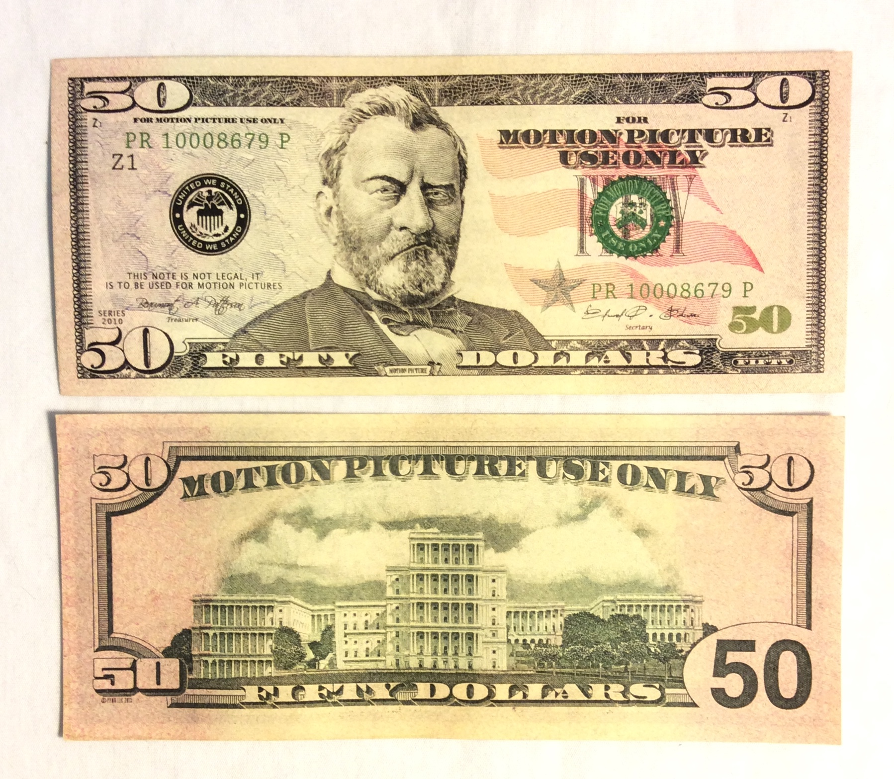 US $50 Bill, double-sided