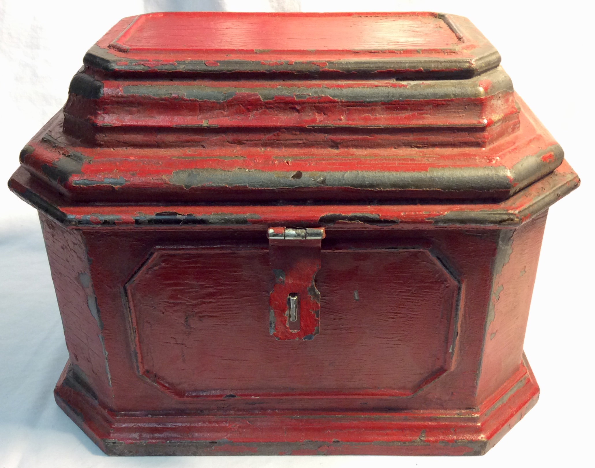 Aged red wooden box/treasure box