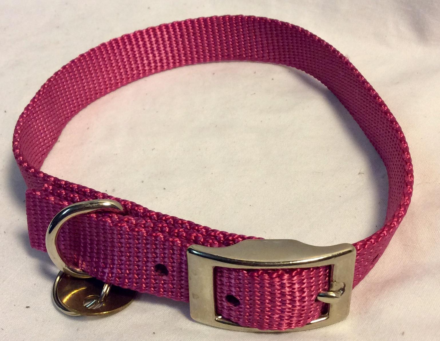 Dark pink nylon dog collar