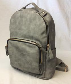 Grey pleather modern backpack.