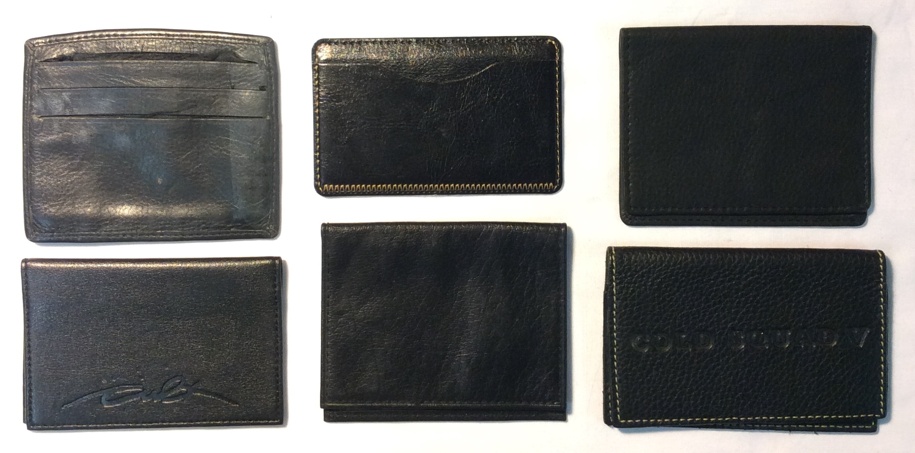 Assorted black leather card holders