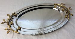Vintage serving trays with golden leaf details