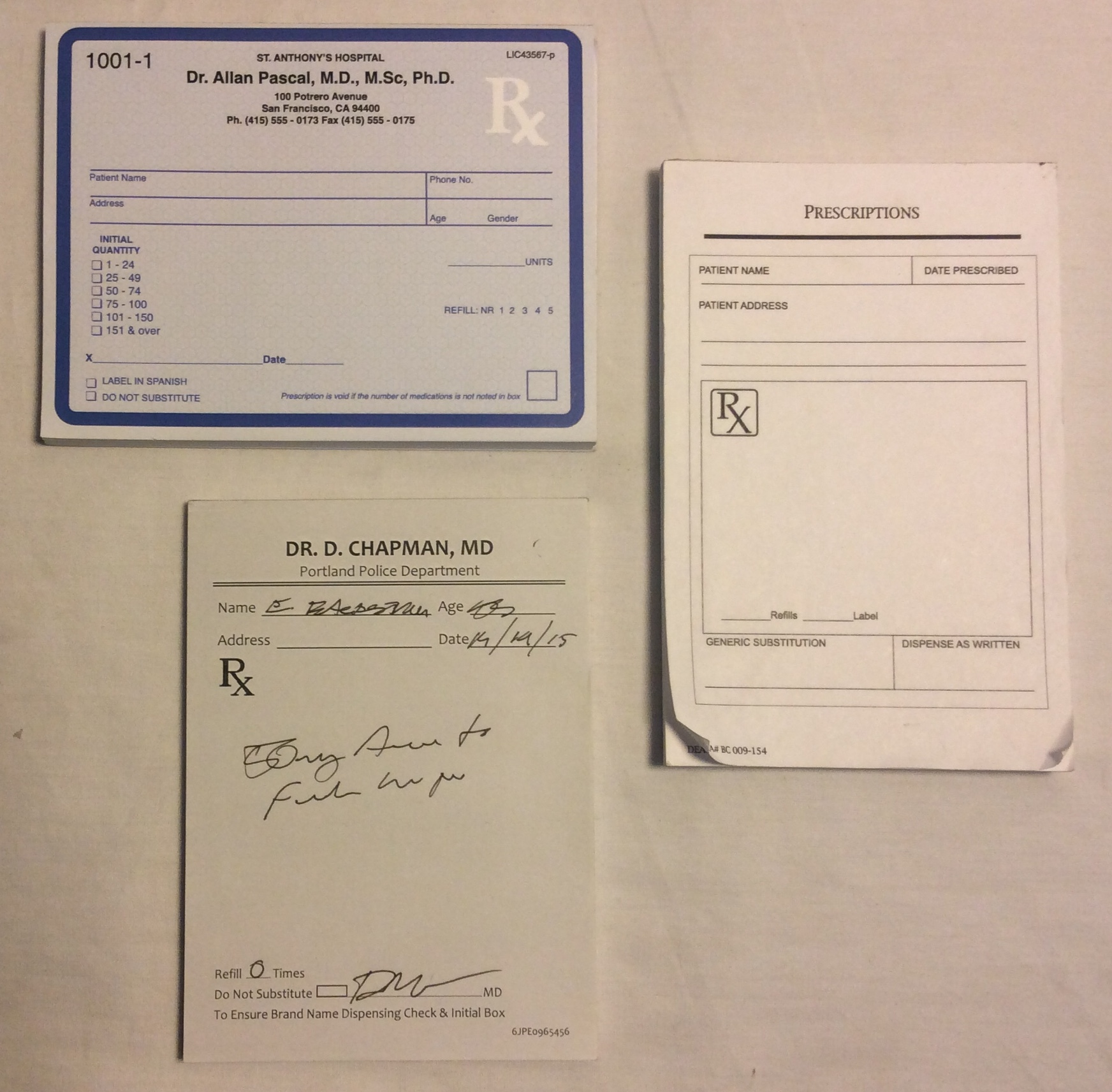 Doctor prescription pads - 3 styles