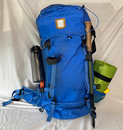 Blue backpacking bag (can come fully loaded)