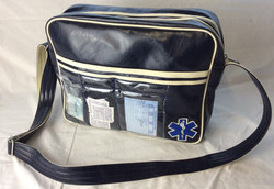 Vintage paramedic shoulder bag. White and blue, pleather. Pockets with medical gear smalls