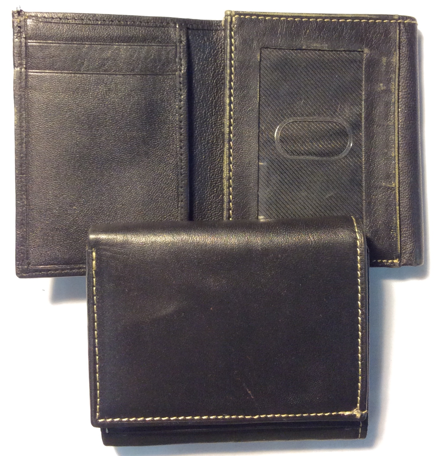 black leather trifold white