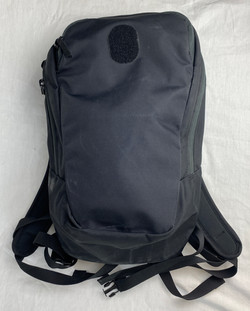 Black weatherproof outdoorsy backpack