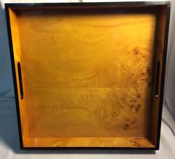 "Square burl wood tray (16"") - x1"