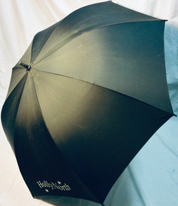 """Large black umbrella with """"Holly North"""" detail"""
