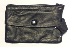 Small thin black leather coin purse