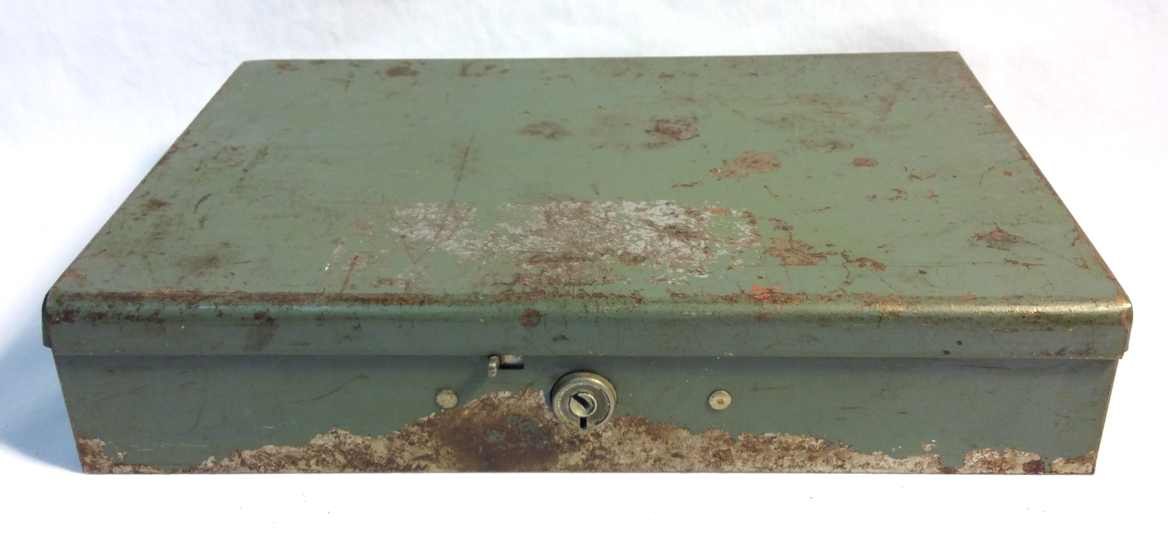 Aged Green Metal Cash Box