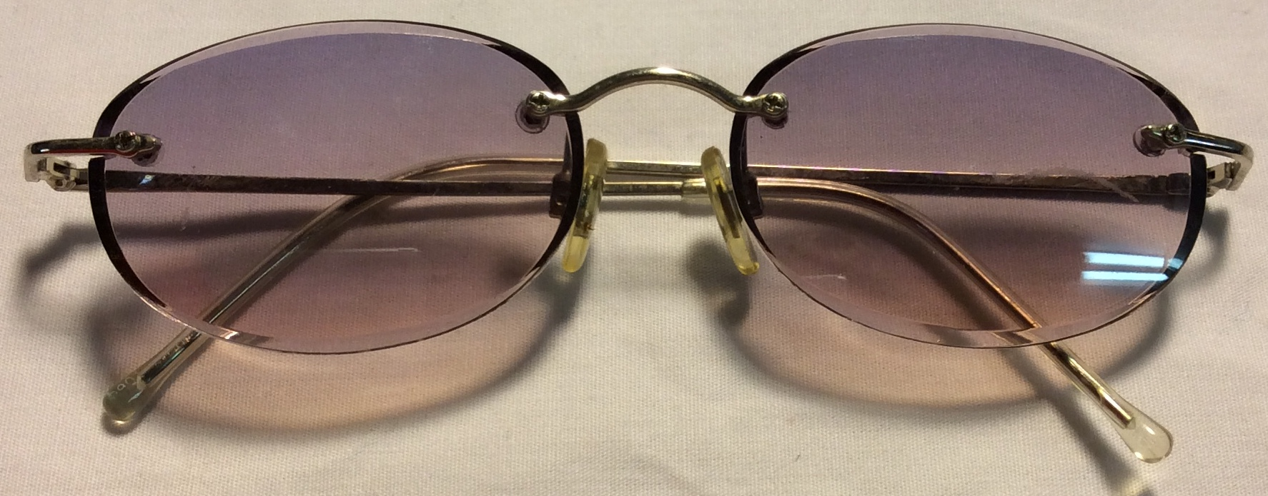 Thin silver metal frames, clear