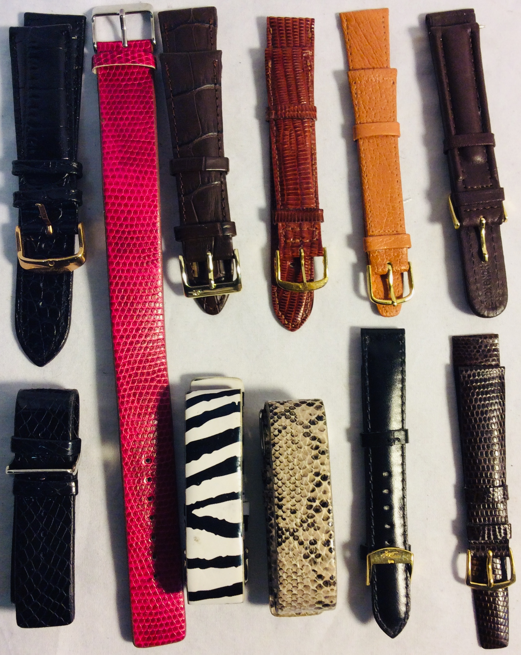 Assorted leather watch wristbands - doubles and singles