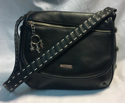 Black leather purse w/ large silver