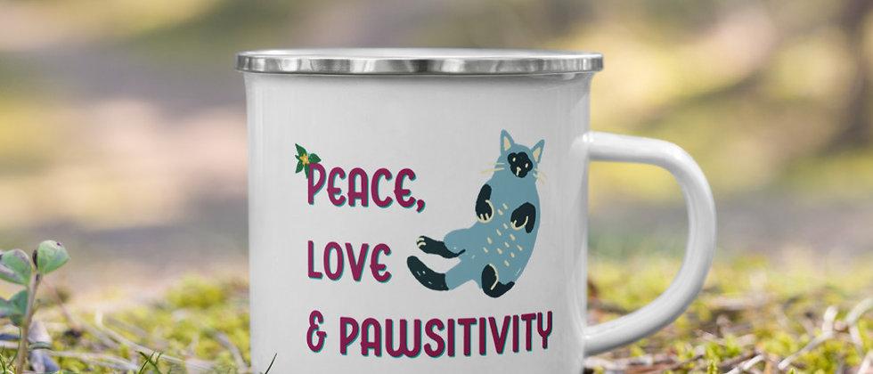 Peace, Love & Pawsitivity Mug - Kitty Cat