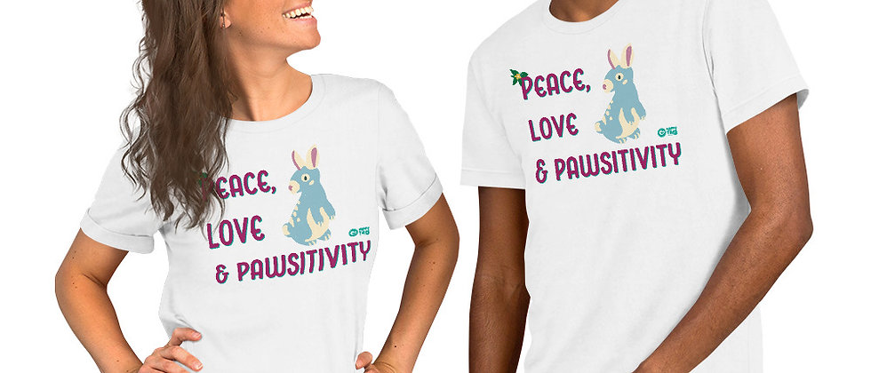 Peace, Love & Pawsitivity Short-Sleeve Unisex T-Shirt - Bun Bun