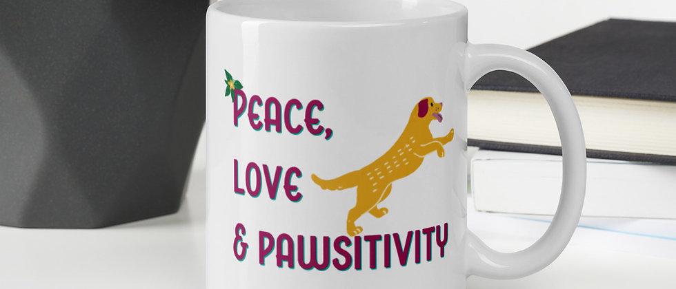 Peace, Love & Pawsitivity Mug - Doggo