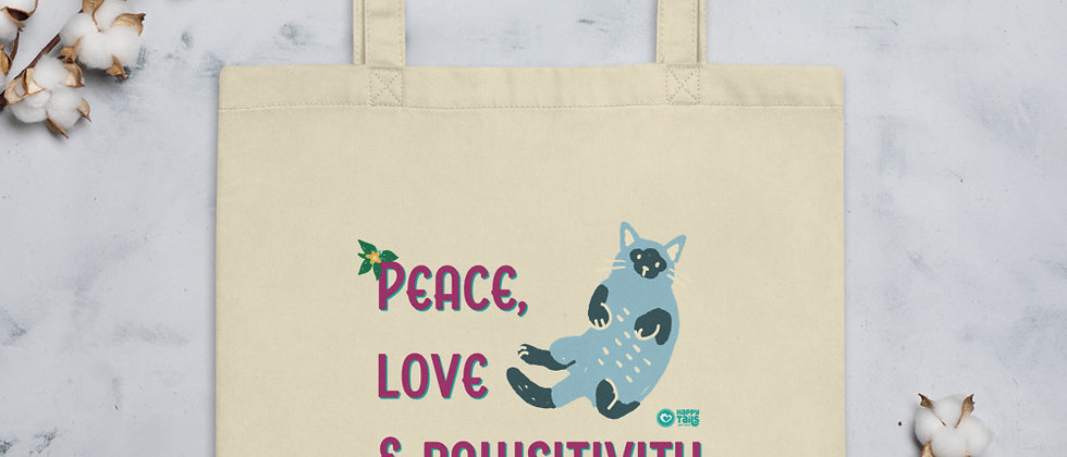 Peace, Love & Pawsitivity Eco Tote Bag - Kitty Cat