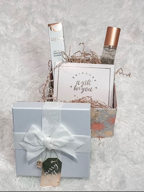 Gift Package with 24K Gold Facial, Keratin Lash Lift, Orsuins Gold Cleanser