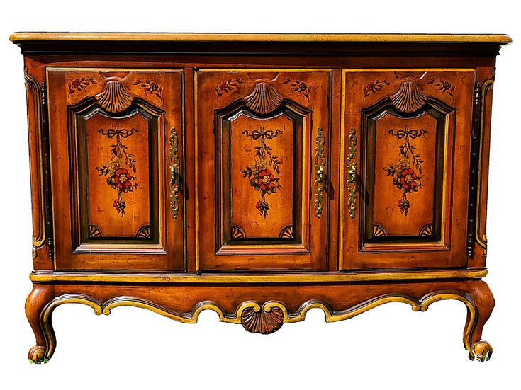 Drexel Heritage French Provincial Country hand painted console sideboard