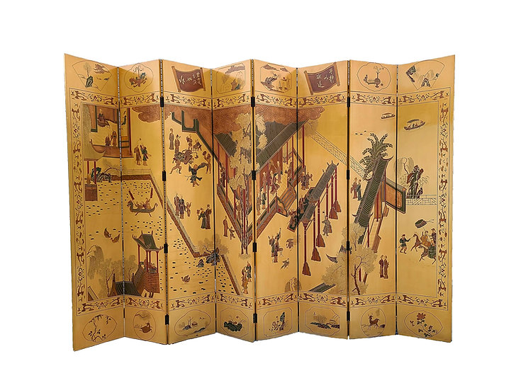 Oriental asian screen eight-panel with carved motifs.