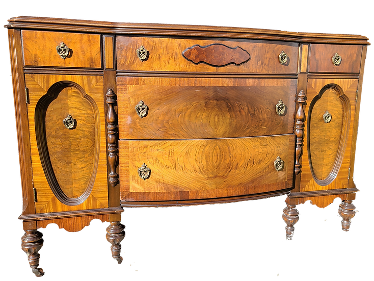 Art Deco Burl Wood Bow Front Dresser, Gesso Mirror
