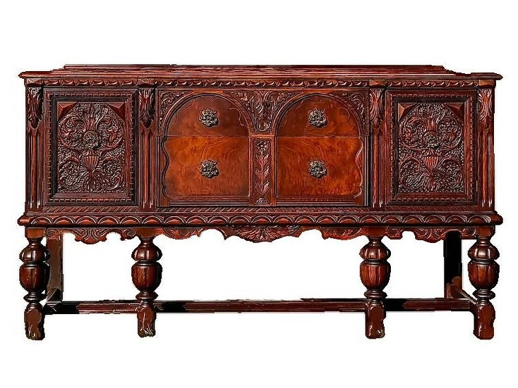 Antique Buffet Sideboard 1800s Spanish Renaissance Revival heavily carved