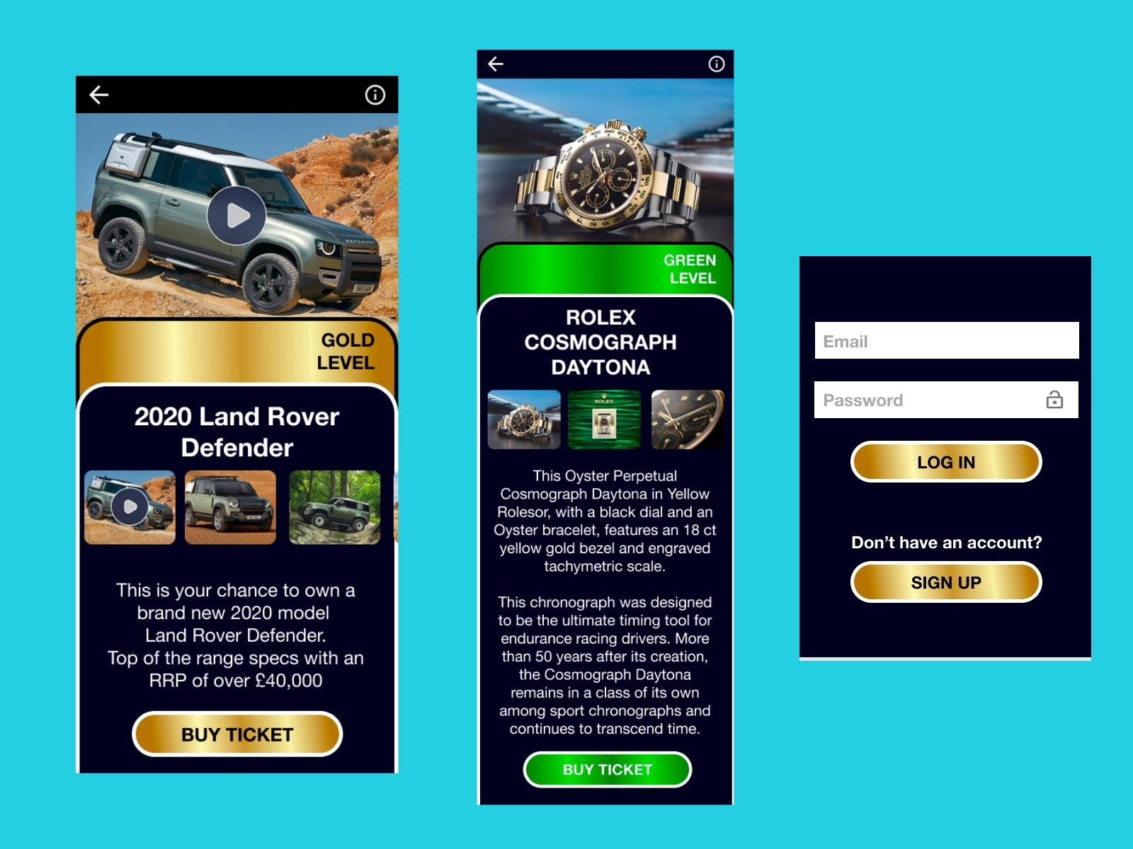UI/UX design by kingdom app development raffle app
