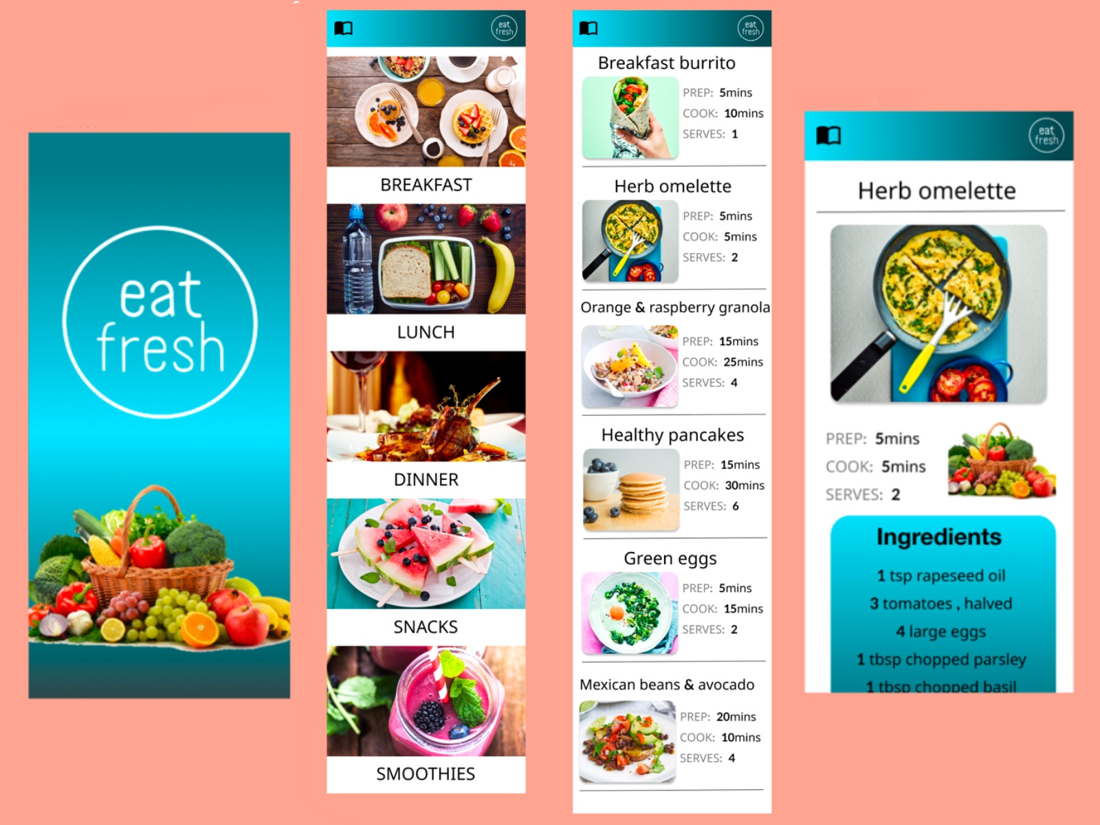 UI/UX design by kingdom app development recipe / menu application