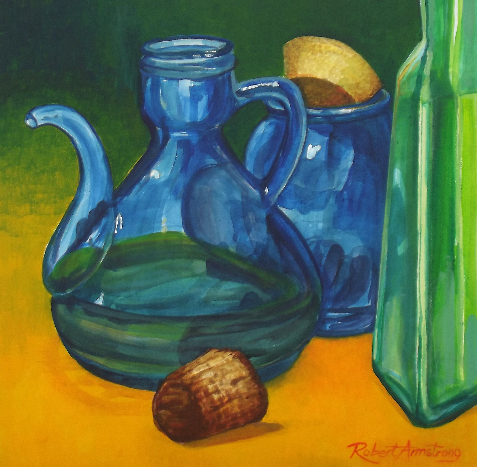 Still Life with Blue Olive Oil Jar