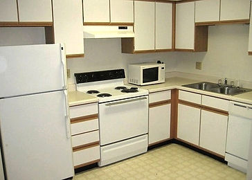 Spacious kitchen countertops and electric stove