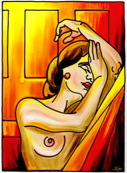 'Nude on Red'