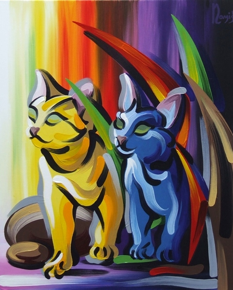 Yellow and Blue Cats