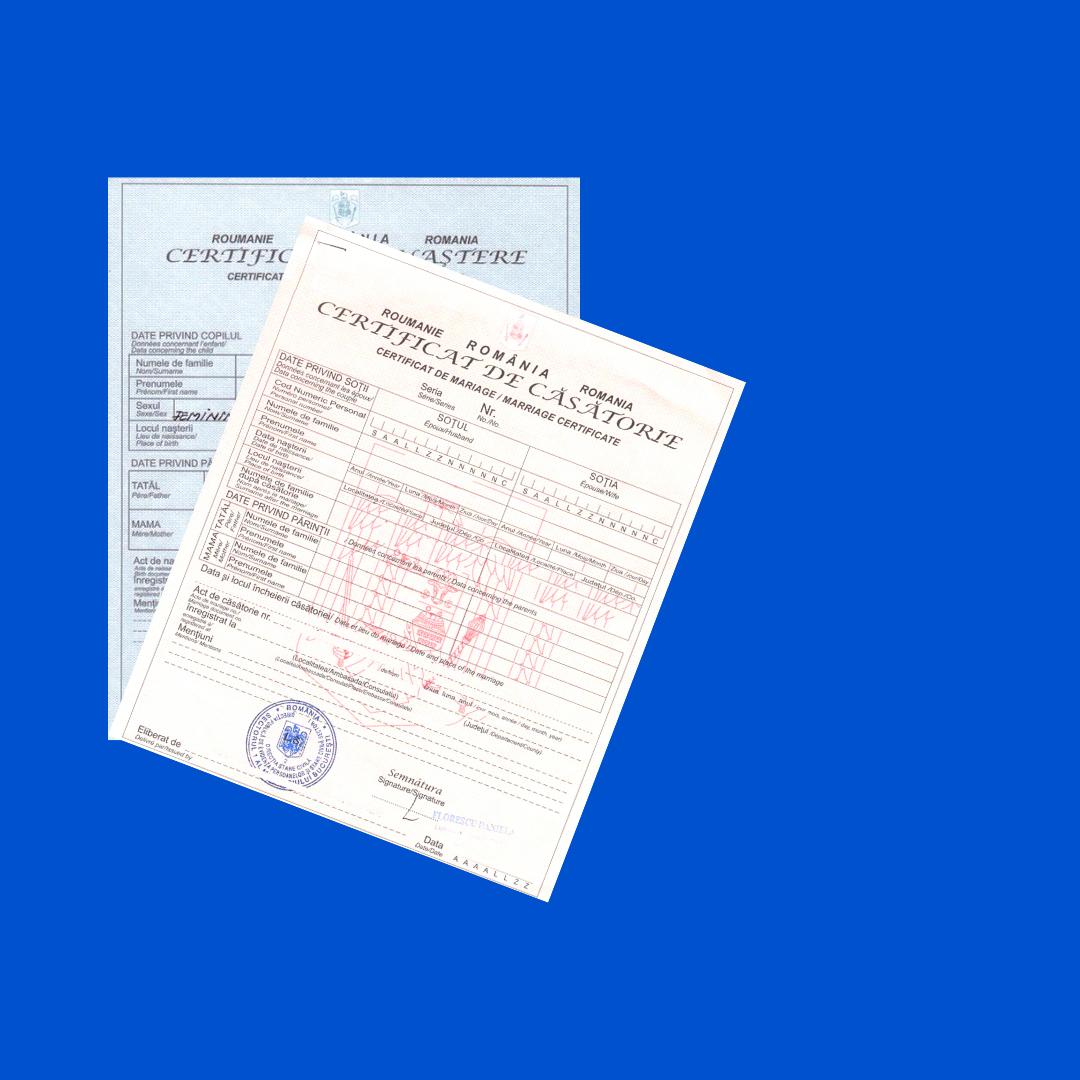 Certificat de Naștere/Căsătorie Românesc