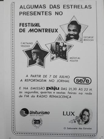 Promoção da prosença do PÁJU no festival de Jazz de Montreux - 1983
