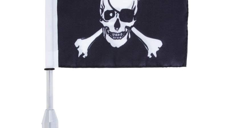 Diamond Plate Motorcycle Flagpole Mount and Skull/Cross-Bones Flag