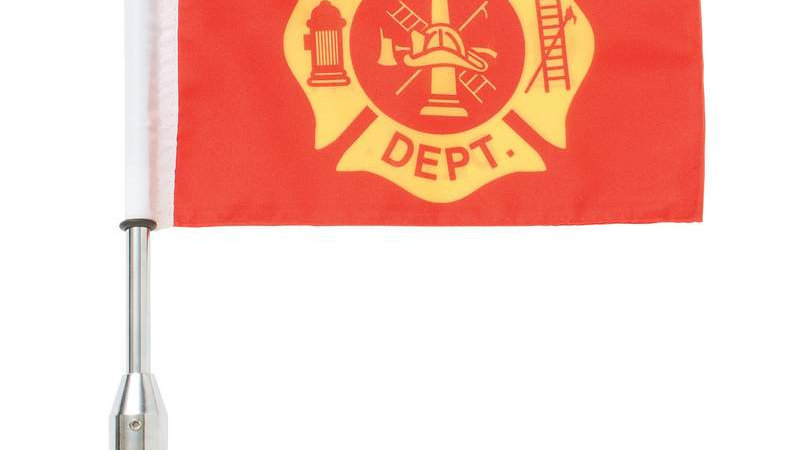 Diamond Plate 3pc Motorcycle Flagpole Mount with Fire Dept. and USA Flag