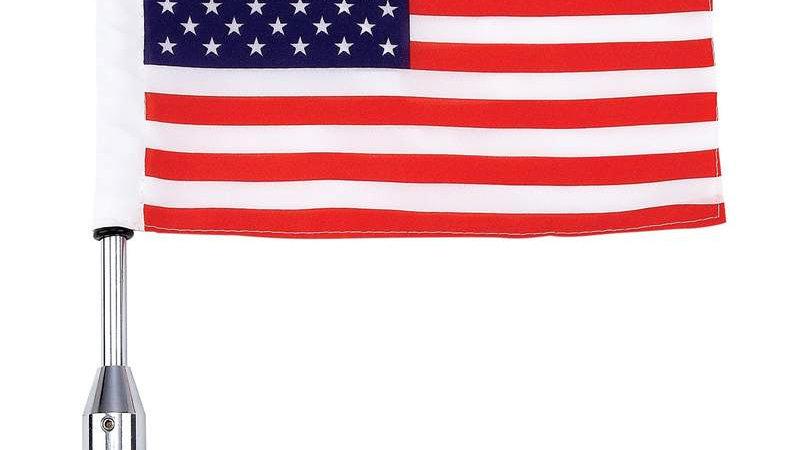 Diamond Plate Motorcycle Flagpole Mount and USA Flag - 18 inch